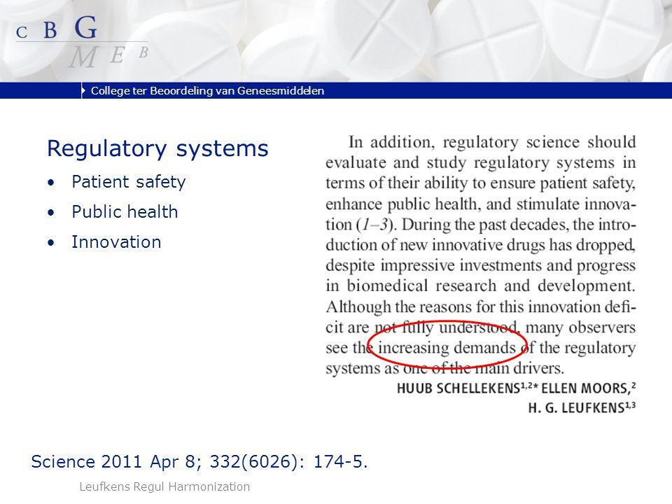 College ter Beoordeling van Geneesmiddelen Leufkens Regul Harmonization Science 2011 Apr 8; 332(6026): 174-5.