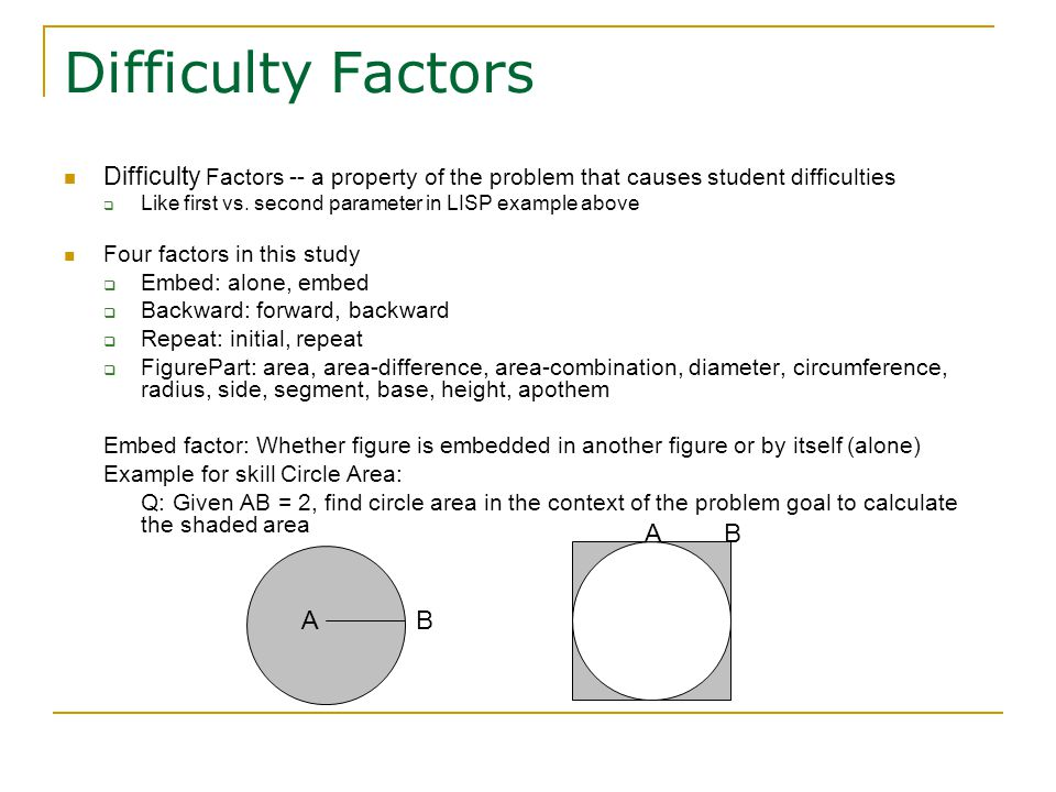 Difficulty Factors Difficulty Factors -- a property of the problem that causes student difficulties  Like first vs.