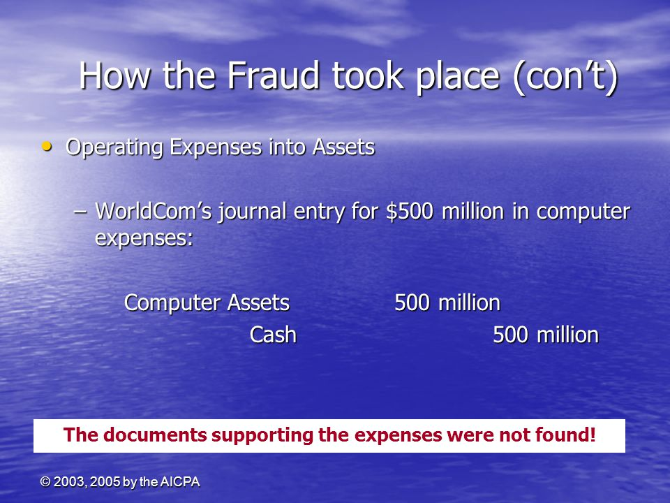 © 2003, 2005 by the AICPA How the Fraud took place (con't) How the Fraud took place (con't) Operating Expenses into Assets Operating Expenses into Ass