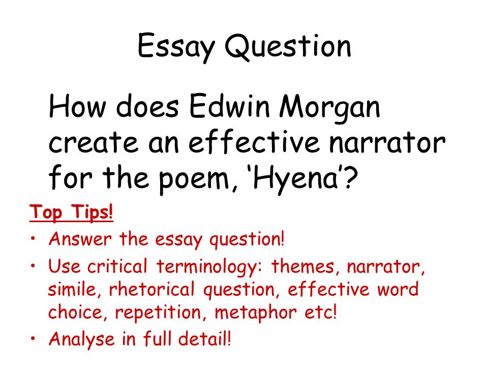 Essay Question How does Edwin Morgan create an effective narrator for the poem, 'Hyena'? Top Tips! Answer the essay question! Use critical terminology