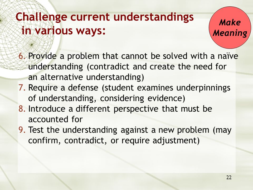 22 Challenge current understandings in various ways: 6.Provide a problem that cannot be solved with a naïve understanding (contradict and create the n