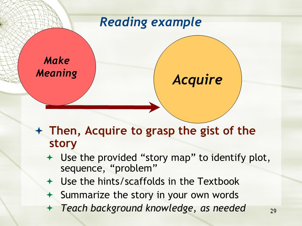 """29 Reading example  Then, Acquire to grasp the gist of the story  Use the provided """"story map"""" to identify plot, sequence, """"problem""""  Use the hints"""