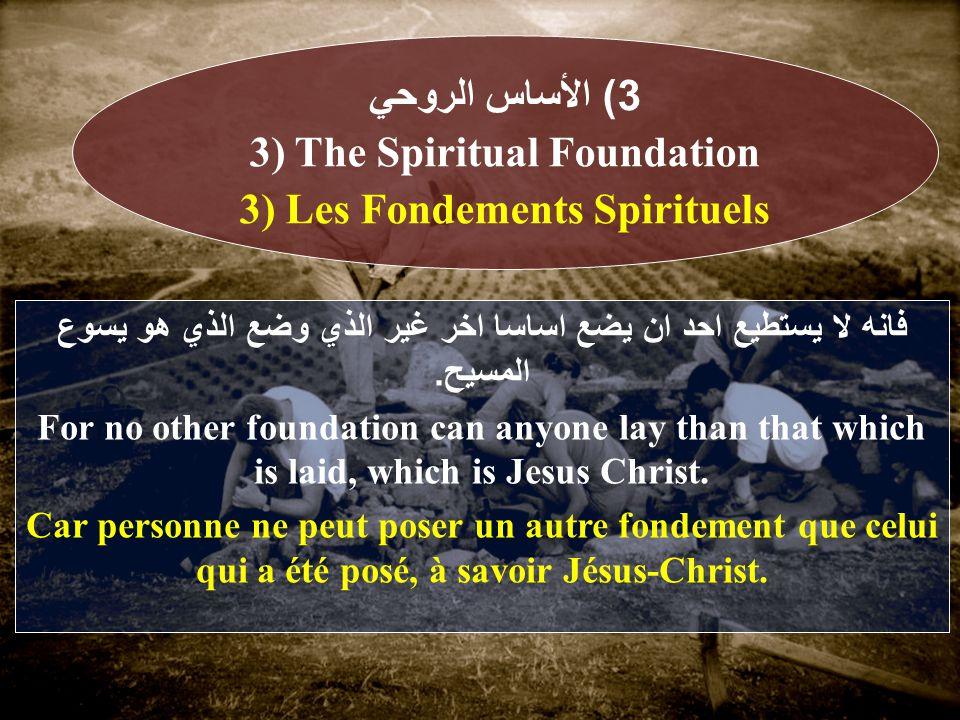 فانه لا يستطيع احد ان يضع اساسا اخر غير الذي وضع الذي هو يسوع المسيح.