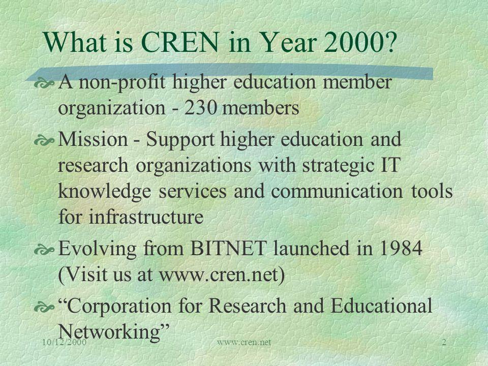 10/12/2000www.cren.net2 What is CREN in Year 2000.