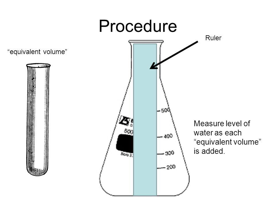 """Procedure Ruler """"equivalent volume"""" Measure level of water as each """"equivalent volume"""" is added."""