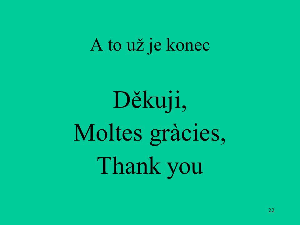 22 A to už je konec Děkuji, Moltes gràcies, Thank you