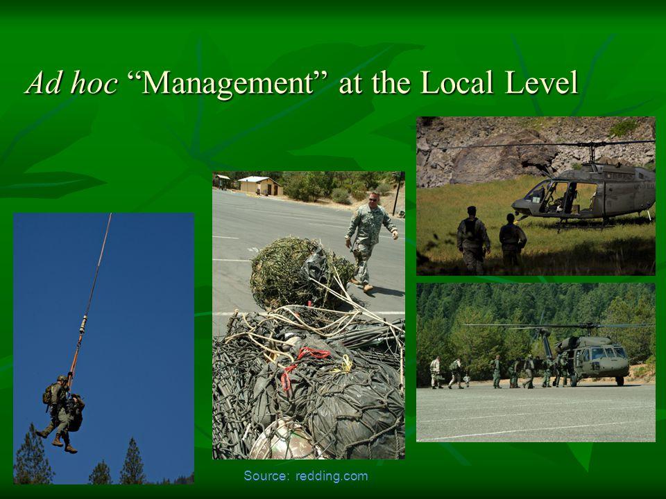 Ad hoc Management at the Local Level Source: redding.com