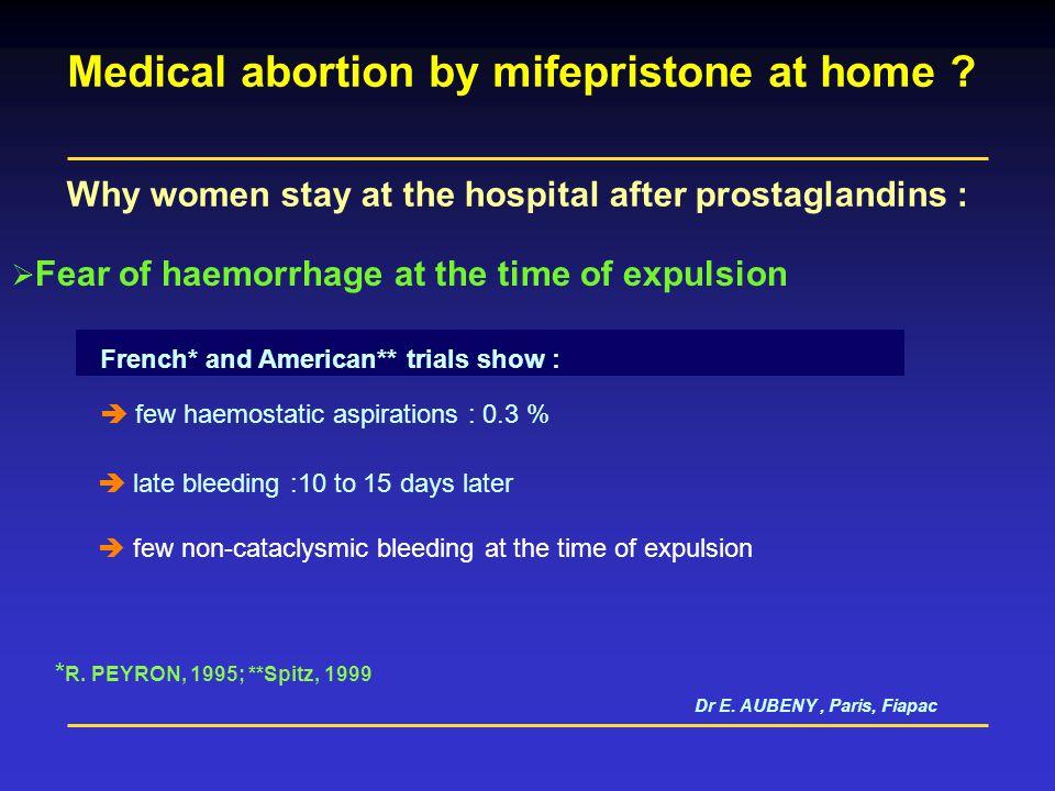Dr E. AUBENY - Paris, Fiapac Why women stay at the hospital after prostaglandins : Misoprostol (Cytotec) Suspicion towards misoprostol taken orally as