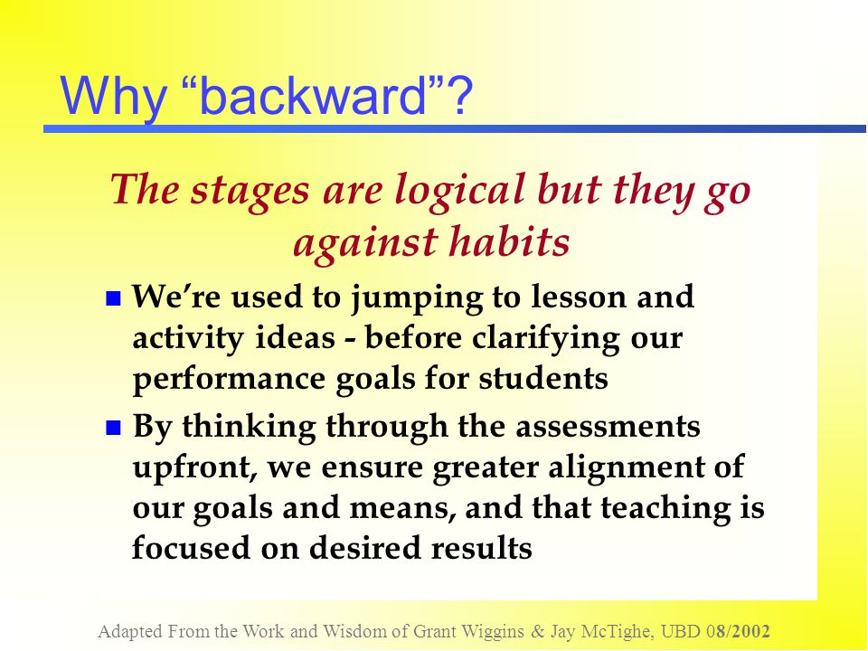 Adapted From the Work and Wisdom of Grant Wiggins & Jay McTighe, UBD 08/2002 Assessment of Understanding Brainstorming….