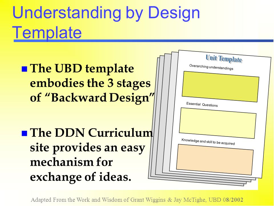 Adapted From the Work and Wisdom of Grant Wiggins & Jay McTighe, UBD 08/2002 Misconception Alert: the work is non-linear It doesn't matter where you start as long as the final design is coherent (all elements aligned) Clarifying one element or Stage often forces changes to another element or Stage The template blueprint is logical but the process is non-linear (think: home improvement!) !