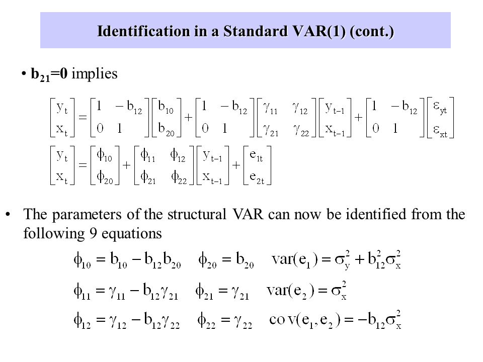 Identification in a Standard VAR(1) Remember that we started with a structural VAR model, and jumped into the reduced form or standard VAR for estimat