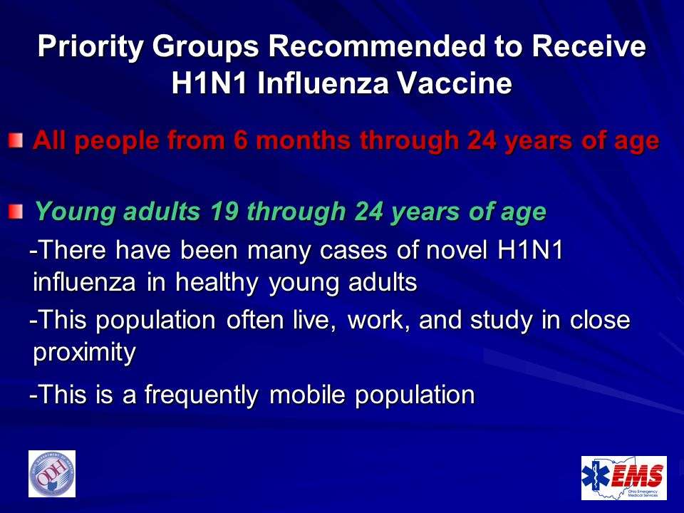 Priority Groups Recommended to Receive H1N1 Influenza Vaccine All people from 6 months through 24 years of age Young adults 19 through 24 years of age