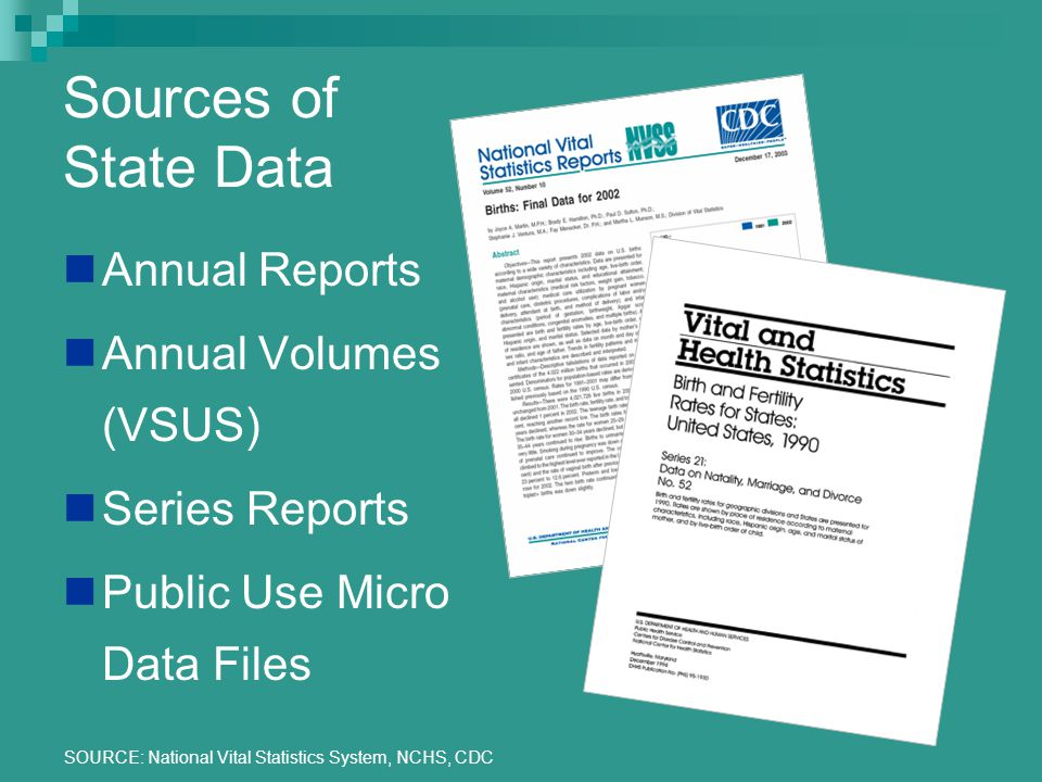 SOURCE: National Vital Statistics System, NCHS, CDC Sources of State Data Annual Reports Annual Volumes (VSUS) Series Reports Public Use Micro Data Files