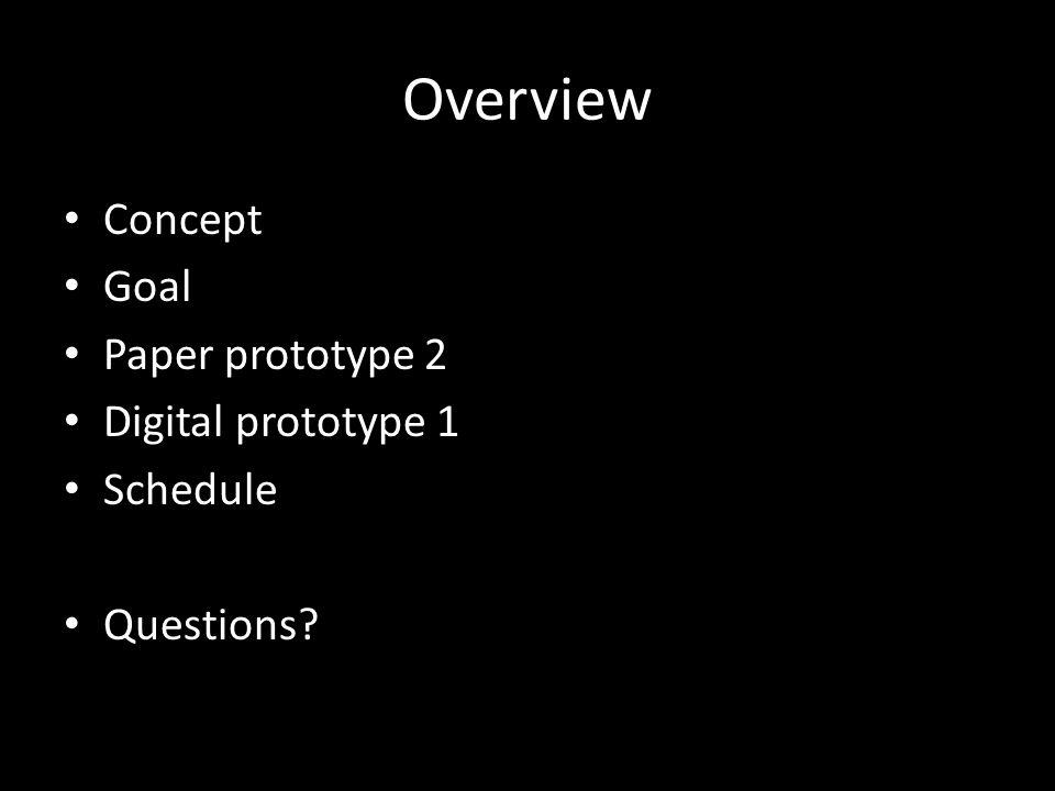 Overview Concept Goal Paper prototype 2 Digital prototype 1 Schedule Questions
