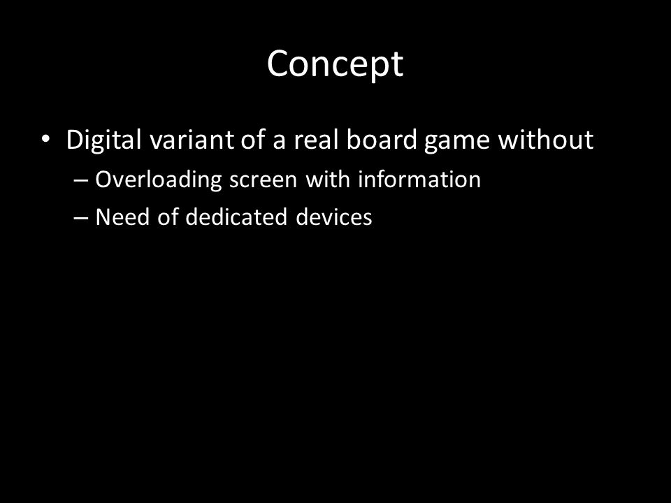 Concept Digital variant of a real board game without – Overloading screen with information – Need of dedicated devices