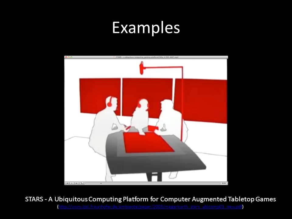 Examples STARS - A Ubiquitous Computing Platform for Computer Augmented Tabletop Games (http://www.ipsi.fraunhofer.de/ambiente/paper/2003/magerkurth_stars_ubicomp03_new.pdf)http://www.ipsi.fraunhofer.de/ambiente/paper/2003/magerkurth_stars_ubicomp03_new.pdf