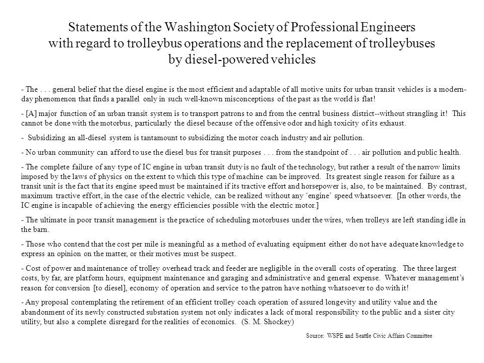Statements of the Washington Society of Professional Engineers with regard to trolleybus operations and the replacement of trolleybuses by diesel-powe