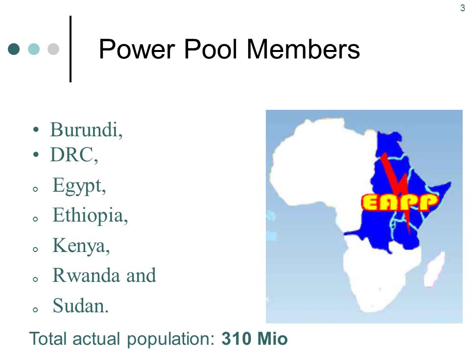 4 Power Pool Overview (I) Pool set up in February 24 th, 2005; EAPP is special institution of COMESA for electrical Energy Main objective: To make available for the Eastern Africa Region an affordable and reliable electricity, by pooling together all available electrical energy resources in the Region in an optimised and coordinated manner, in order to increase the access rate to electricity by the population of the Region and thereby promote regional integration; Key activities undertaken so far: EAPP Strategic Plan: financing pledged by EC-Energy Facility; EC-appraisal mission completed in November 2006; Capacity building: financing pledged by EC-Energy Facility and by AfDB; EC and AfDB-appraisal missions completed in November 2006; EAPP Master Plan: financing pledged by AfDB; AfDB-appraisal mission completed in November 2006; Data base and power market rules: financing pledged by EC-Energy Facility; EC- appraisal mission completed in November 2006;