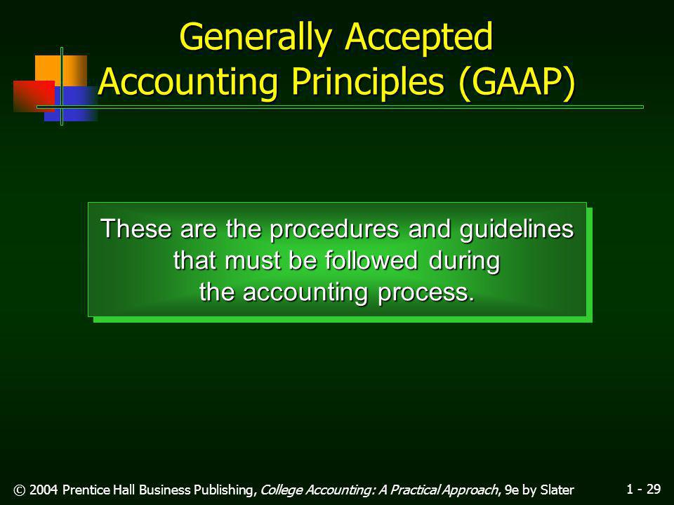1 - 28 © 2004 Prentice Hall Business Publishing, College Accounting: A Practical Approach, 9e by Slater Learning Unit 1-4 (Preparing Financial Statements) Cathy Hall, Attorney-at-Law Balance Sheet September 30, 200x Assets Cash$ 8,300 Accts.