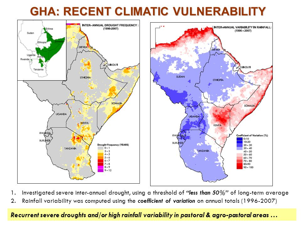 Recurrent severe droughts and/or high rainfall variability in pastoral & agro-pastoral areas … GHA: RECENT CLIMATIC VULNERABILITY 1.Investigated sever