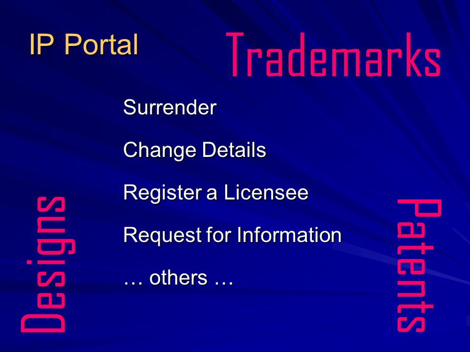IP Portal Surrender Change Details Register a Licensee Request for Information … others … Trademarks Patents Designs