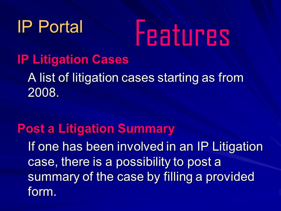 IP Portal IP Litigation Cases IP Litigation Cases A list of litigation cases starting as from 2008.