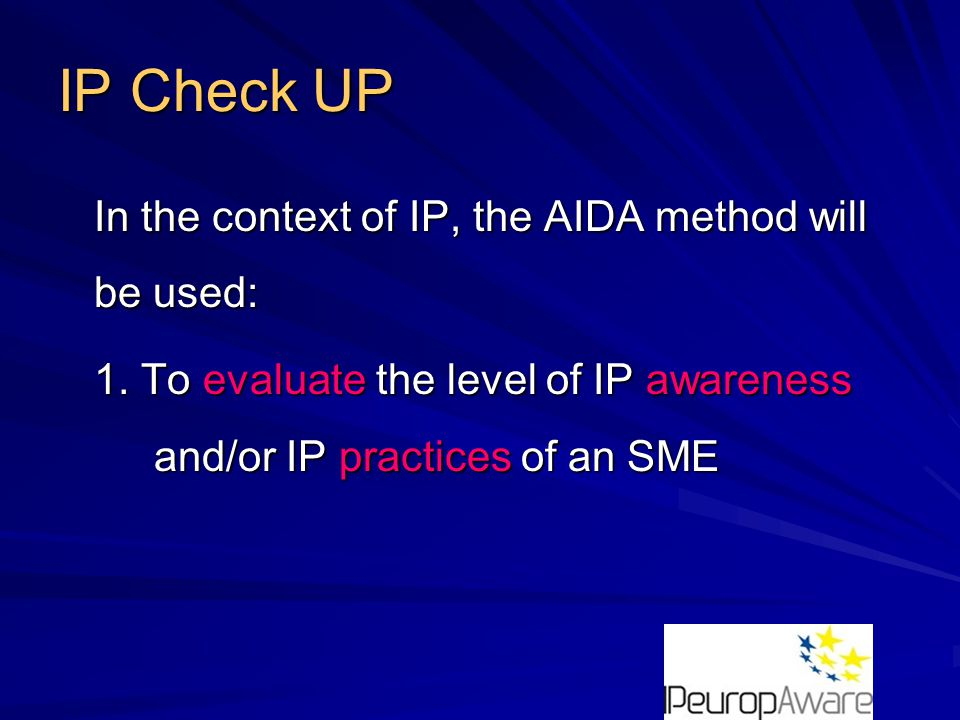 IP Check UP The IP Check UP is carried out in three stages 1st stage: An Interview of around 4 hours with the Company Director;
