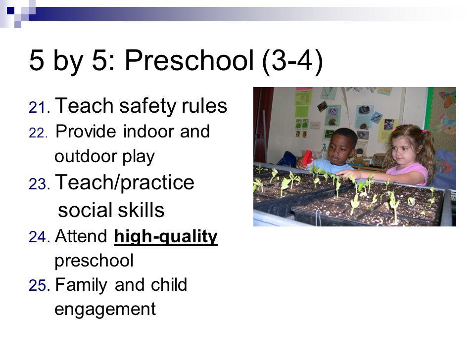 5 by 5: Preschool (3-4) 21. Teach safety rules 22.