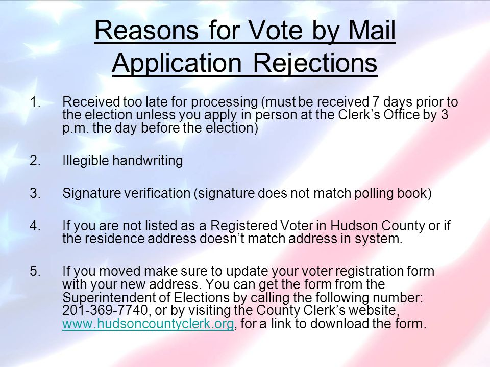 Additional Election-Related Information Please take note of the election services listed below and the appropriate Hudson County office you should seek regarding each.