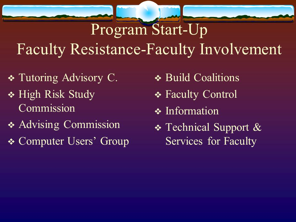 Program Start-Up Faculty Resistance-Faculty Involvement  Tutoring Advisory C.