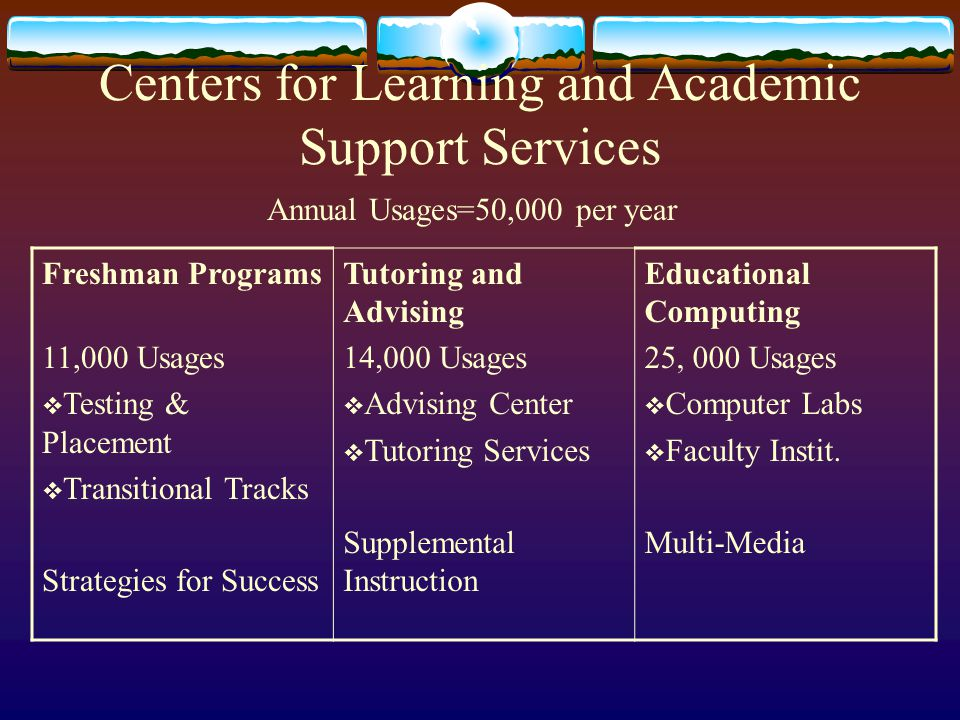 Centers for Learning and Academic Support Services Freshman Programs 11,000 Usages  Testing & Placement  Transitional Tracks Strategies for Success Tutoring and Advising 14,000 Usages  Advising Center  Tutoring Services Supplemental Instruction Educational Computing 25, 000 Usages  Computer Labs  Faculty Instit.