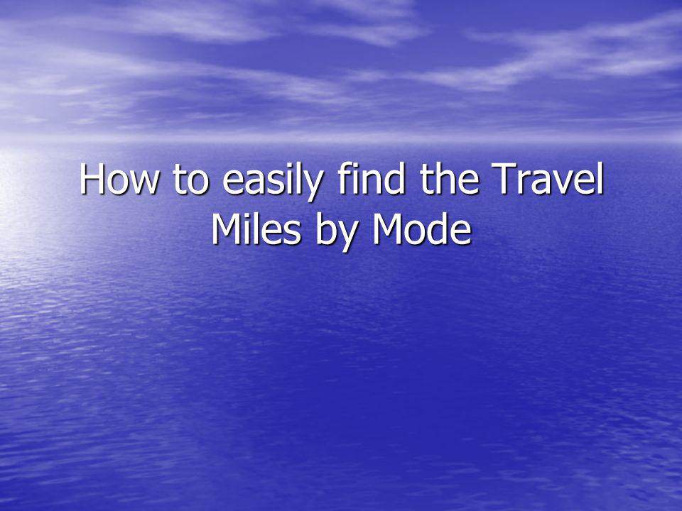 Getting Started Modes Requiring Miles input for the Travel Expense Claim Form: Modes Requiring Miles input for the Travel Expense Claim Form: –Air –Personal Vehicle –Rental Car –Taxi –Shuttle Bus –Bus –Rail –Light Rail