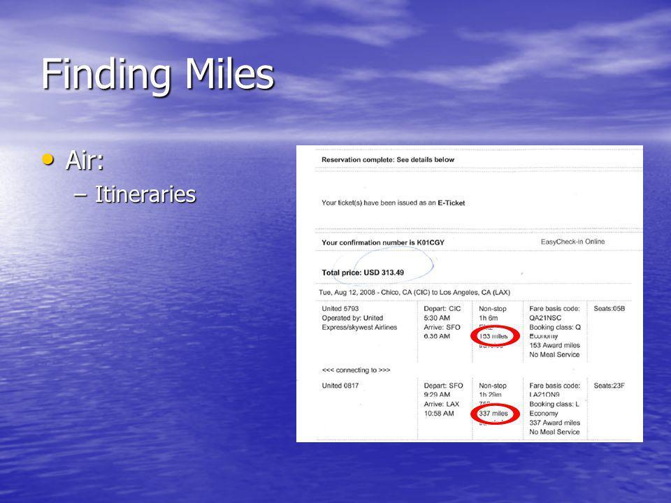 Finding Miles Air: Air: –Itineraries