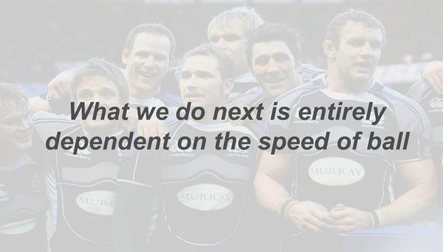 What we do next is entirely dependent on the speed of ball