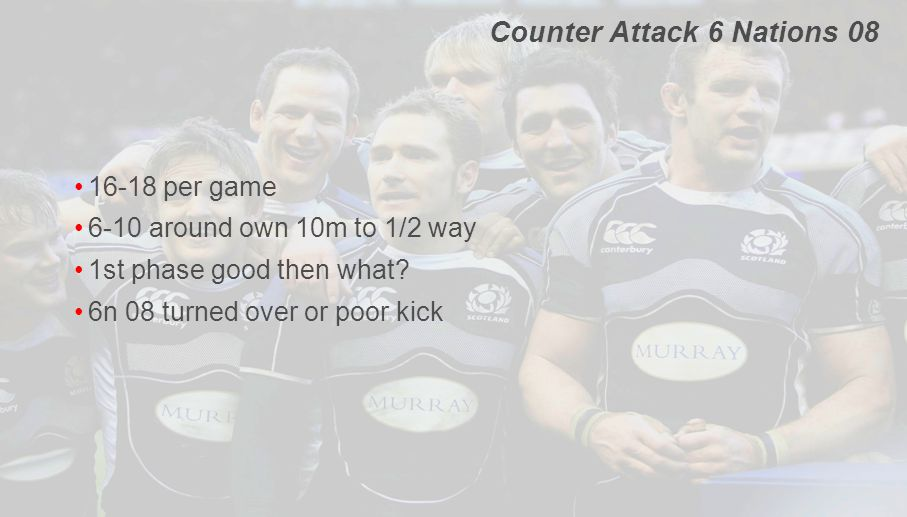 Counter Attack 6 Nations 08 16-18 per game 6-10 around own 10m to 1/2 way 1st phase good then what? 6n 08 turned over or poor kick