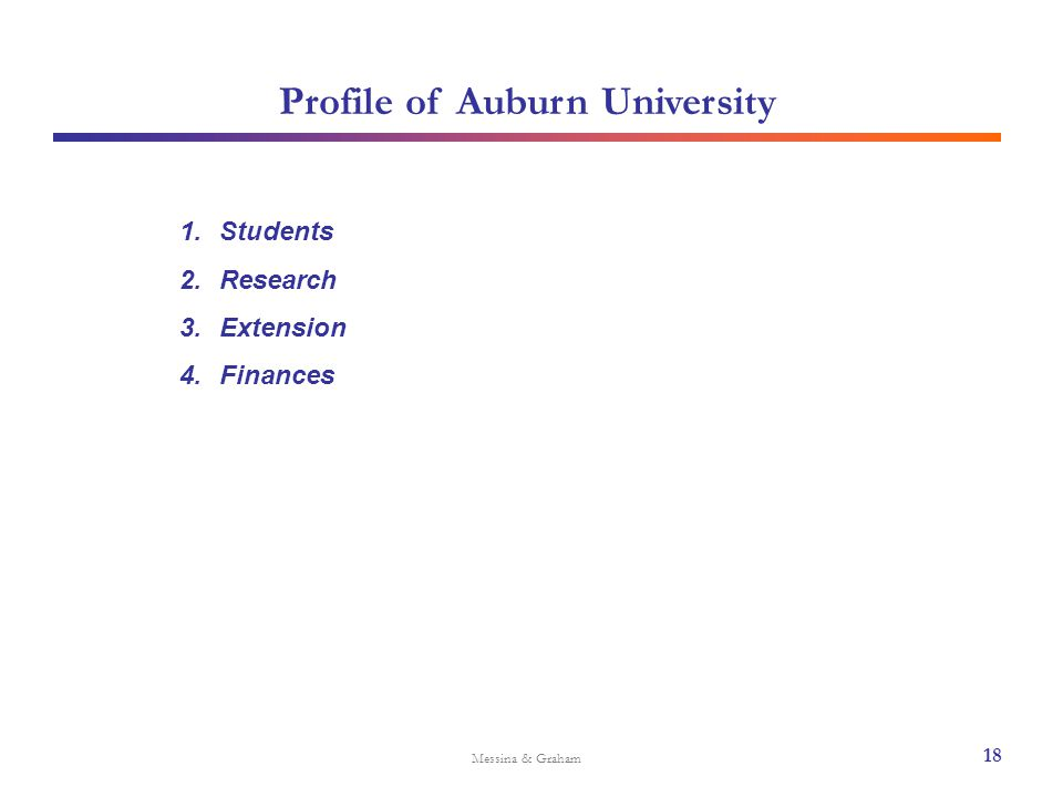 Profile of Auburn University Messina & Graham 18 1.Students 2.Research 3.Extension 4.Finances
