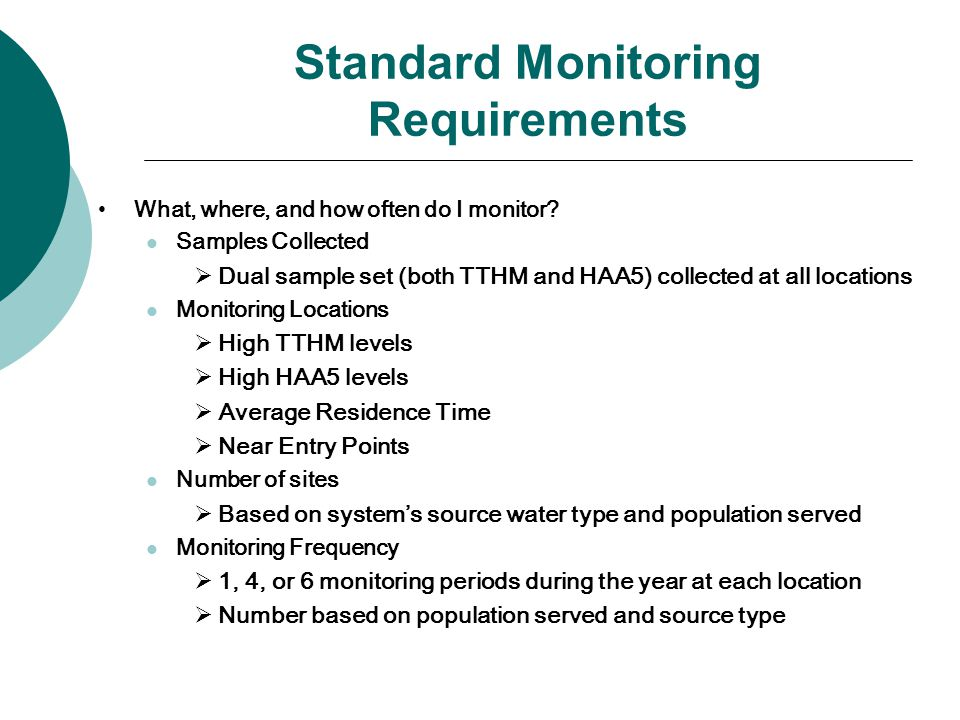 Standard Monitoring Requirements What, where, and how often do I monitor.