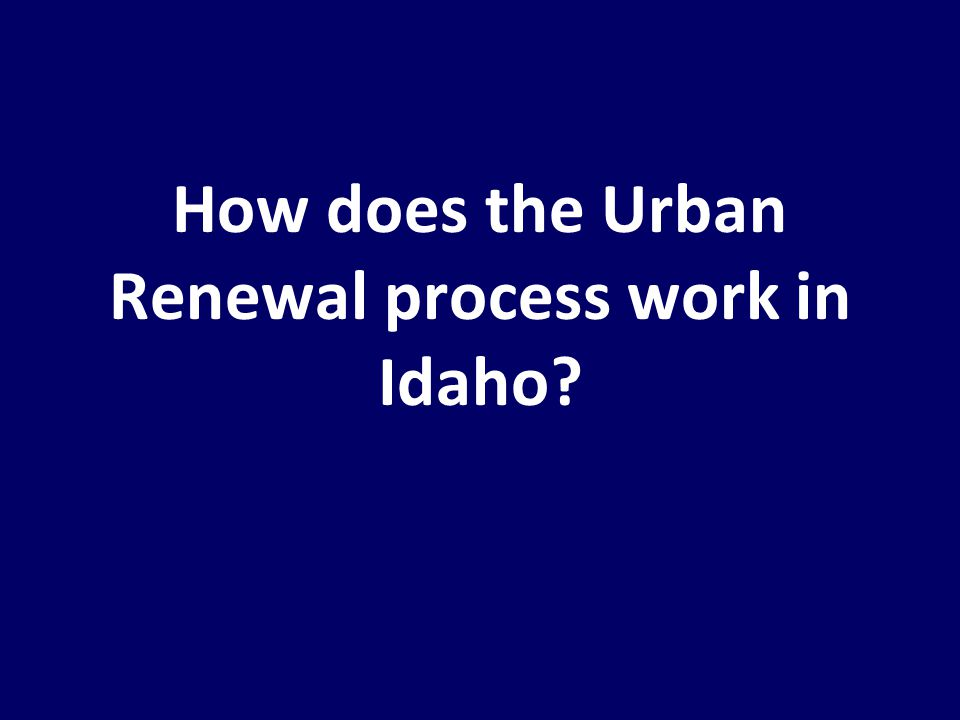 How does the Urban Renewal process work in Idaho?
