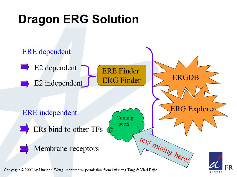 Copyright © 2005 by Limsoon Wong. Dragon ERG Solution ERE dependent E2 dependent ERs bind to other TFs Membrane receptors E2 independent ERE independe