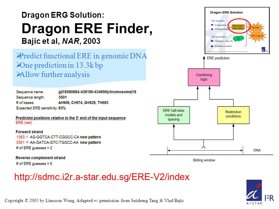 http://sdmc.i2r.a-star.edu.sg/ERE-V2/index  Predict functional ERE in genomic DNA  One prediction in 13.3k bp  Allow further analysis Dragon ERG Solution: Dragon ERE Finder, Bajic et al, NAR, 2003 Copyright © 2005 by Limsoon Wong.