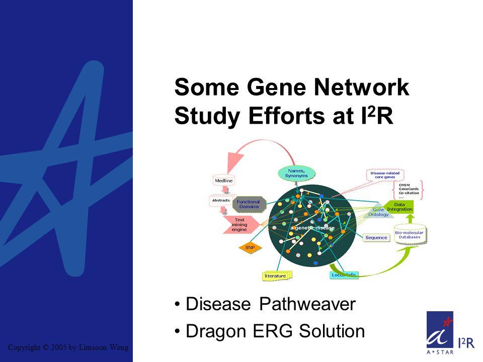 Copyright © 2005 by Limsoon Wong Some Gene Network Study Efforts at I 2 R Disease Pathweaver Dragon ERG Solution