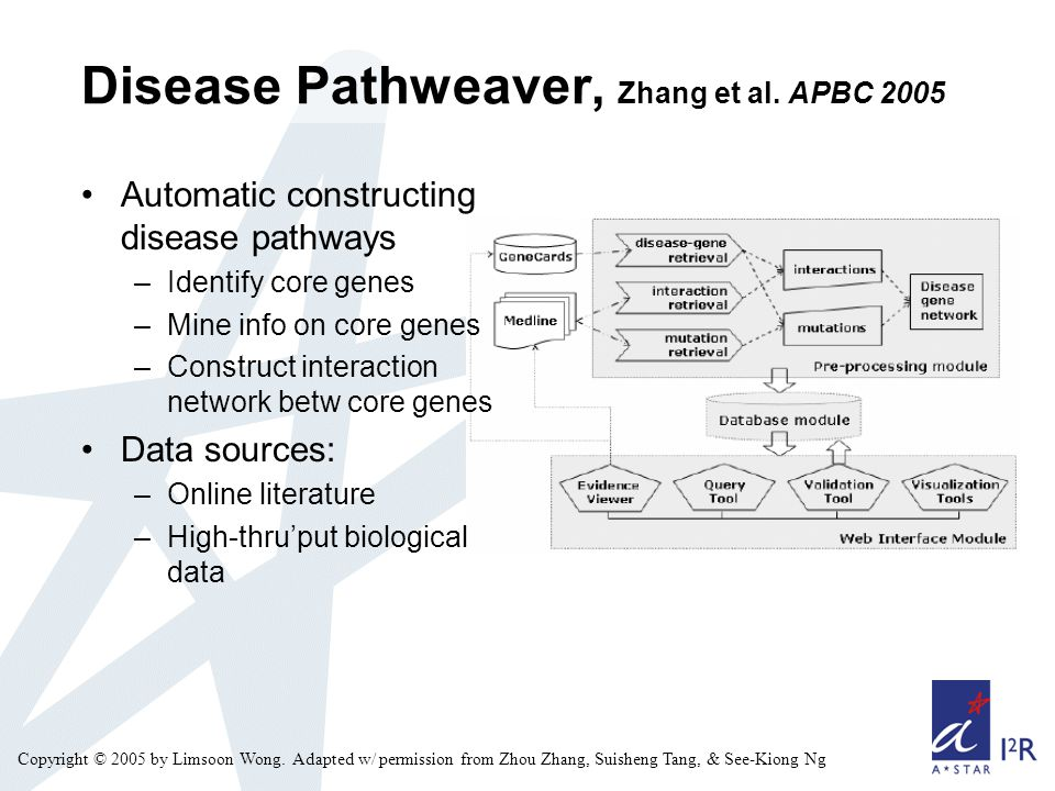 Copyright © 2005 by Limsoon Wong. Adapted w/ permission from Zhou Zhang, Suisheng Tang, & See-Kiong Ng Disease Pathweaver, Zhang et al. APBC 2005 Auto