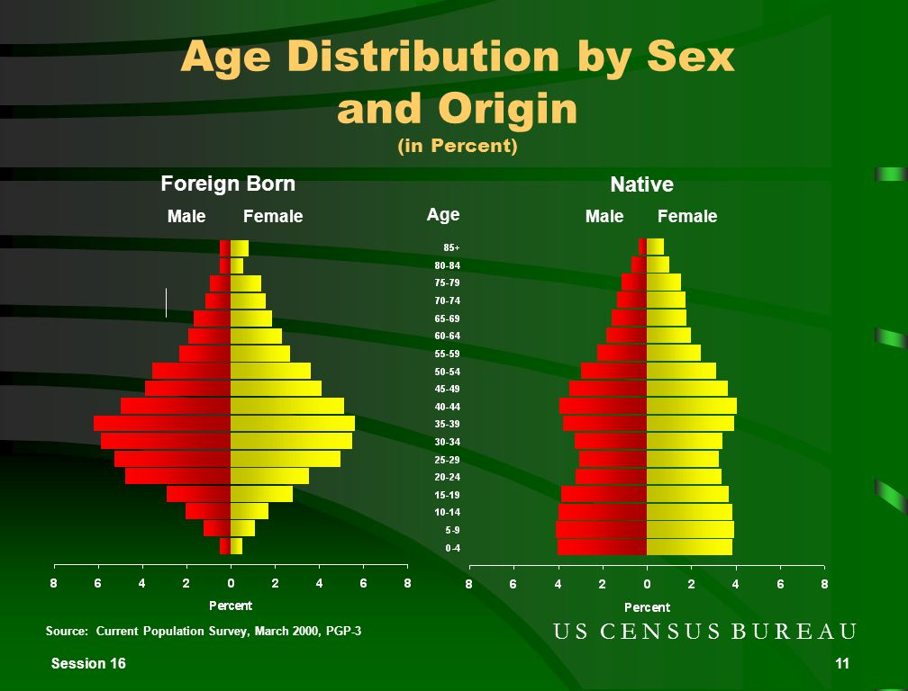 Session 1611 Source: Current Population Survey, March 2000, PGP-3 U S C E N S U S B U R E A U Foreign Born Native Age Distribution by Sex and Origin (in Percent) MaleFemale Male Age