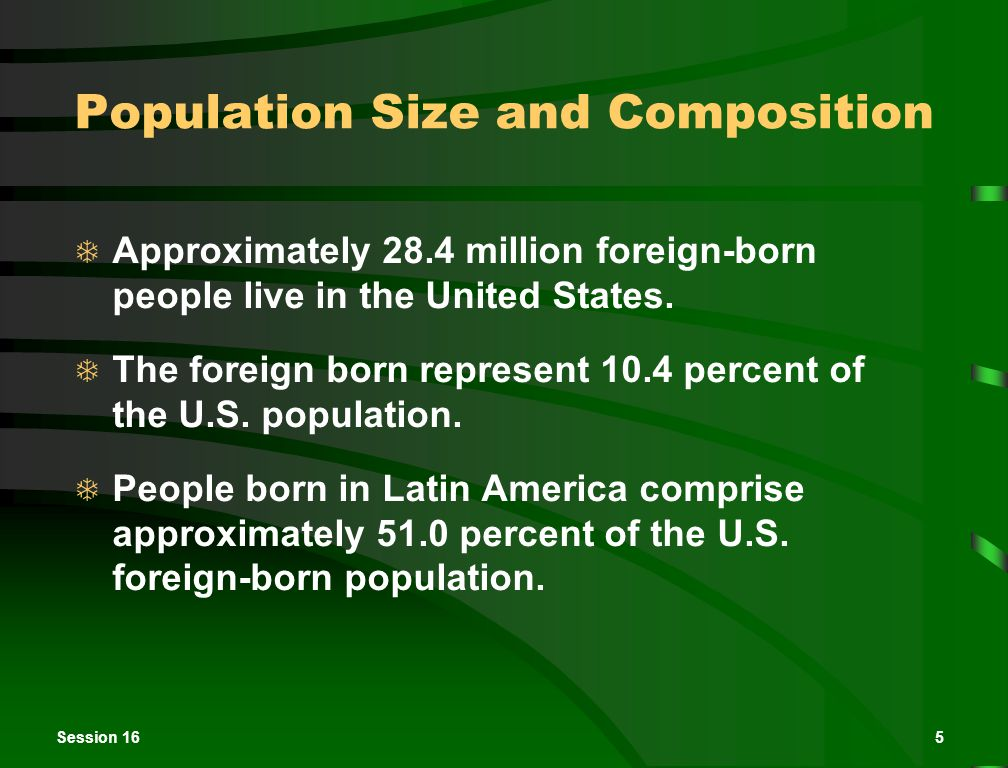 Session 165 Population Size and Composition  Approximately 28.4 million foreign-born people live in the United States.