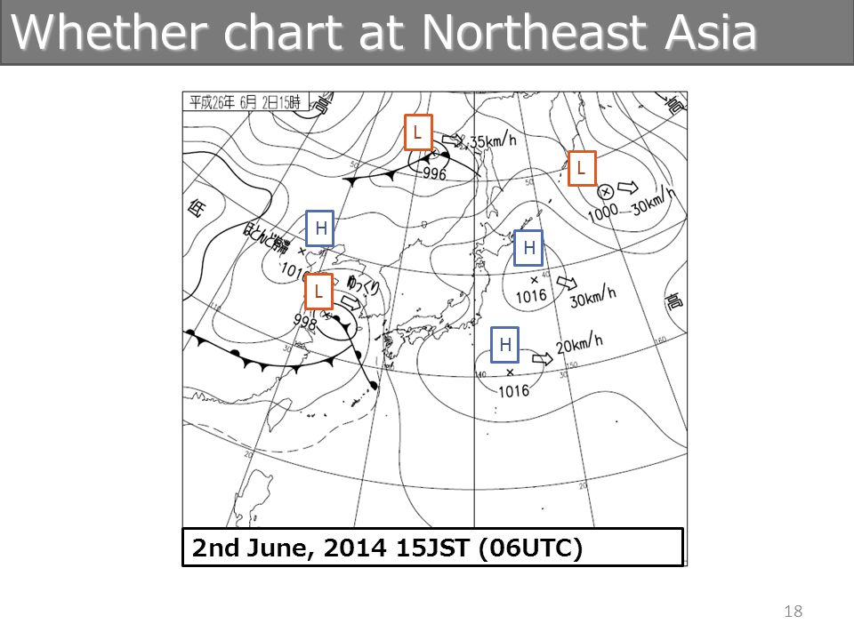 18 Whether chart at Northeast Asia H H L H L L 2nd June, 2014 15JST (06UTC)
