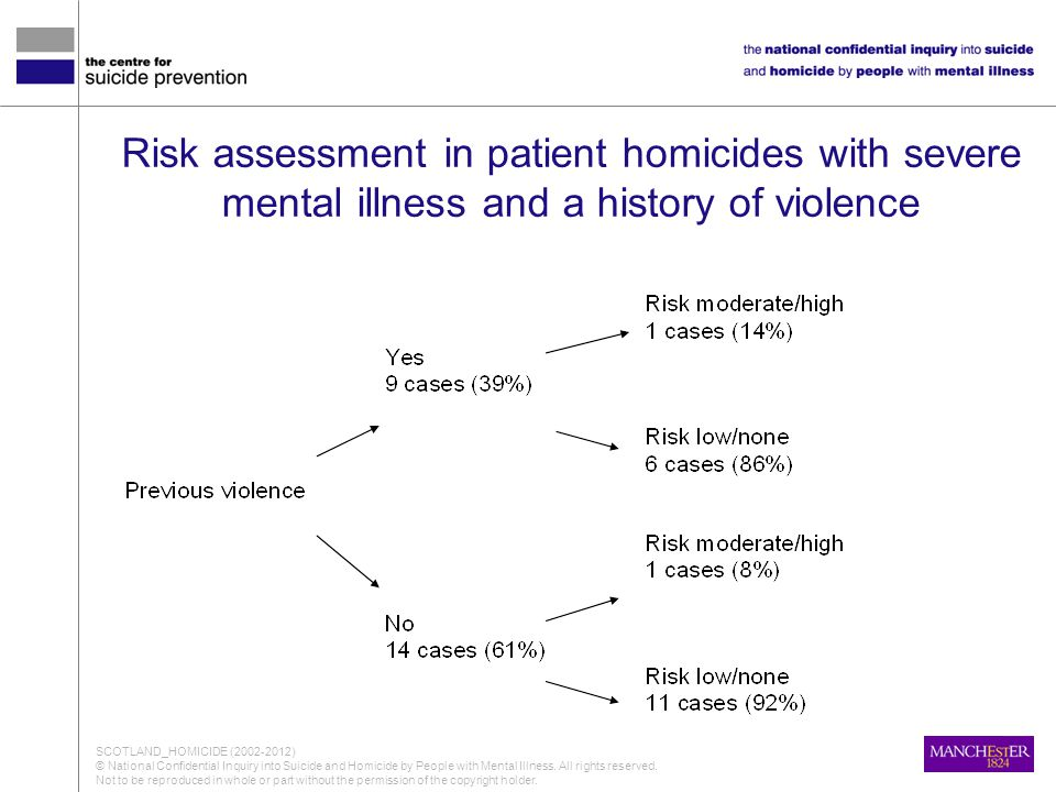 Risk assessment in patient homicides with severe mental illness and a history of violence SCOTLAND_HOMICIDE (2002-2012) © National Confidential Inquiry into Suicide and Homicide by People with Mental Illness.