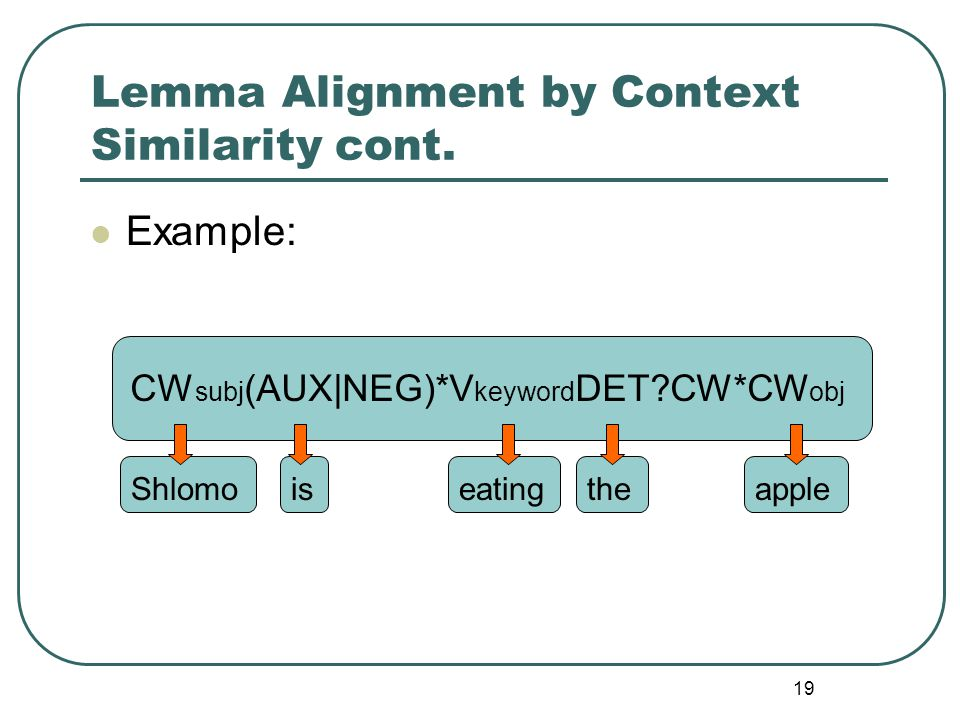 19 Lemma Alignment by Context Similarity cont.