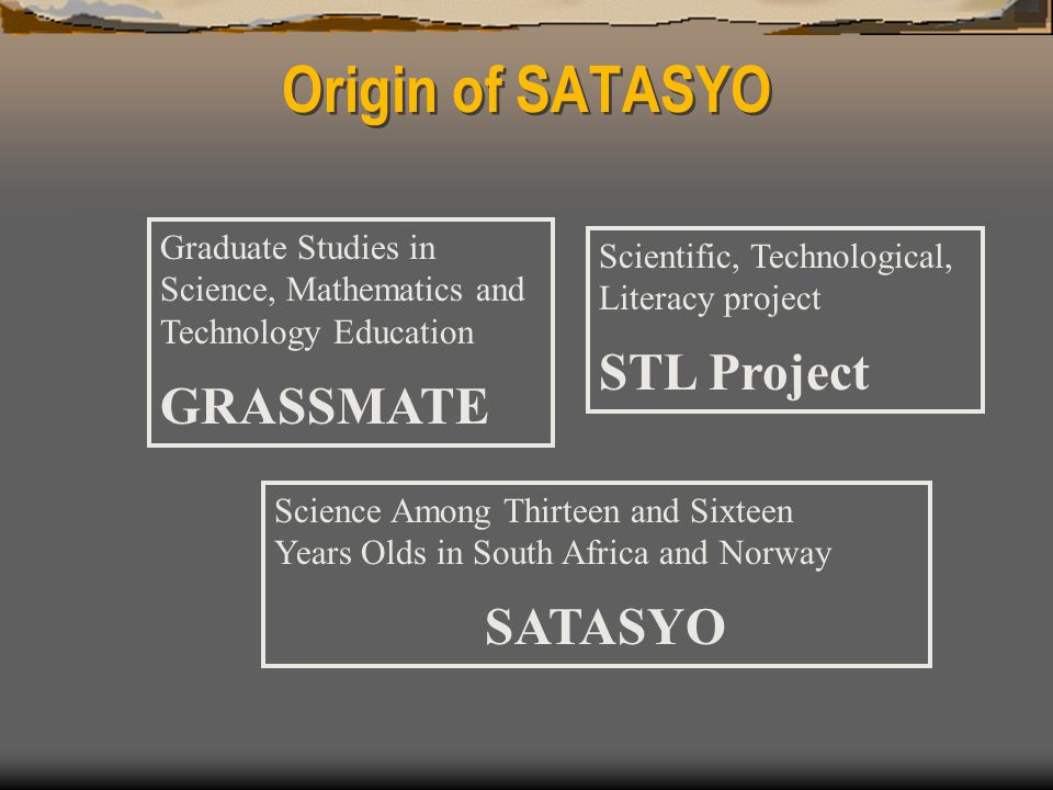 Origin of SATASYO Scientific, Technological, Literacy project STL Project Graduate Studies in Science, Mathematics and Technology Education GRASSMATE Science Among Thirteen and Sixteen Years Olds in South Africa and Norway SATASYO