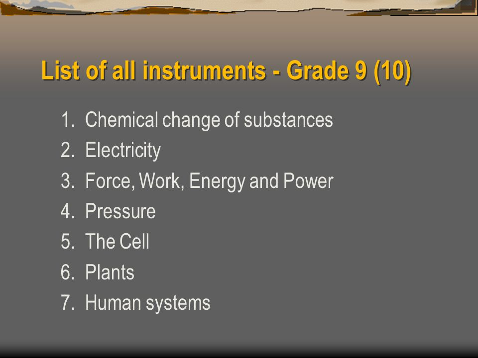 List of all instruments - Grade 9 (10) 1. Chemical change of substances 2.