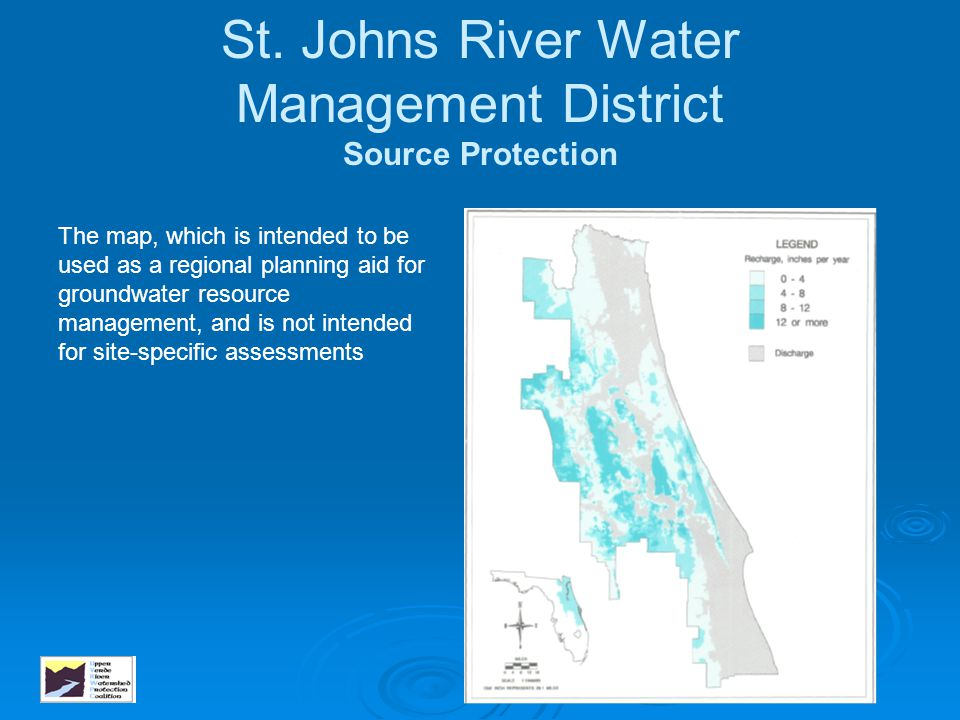 St. Johns River Water Management District Source Protection The map, which is intended to be used as a regional planning aid for groundwater resource
